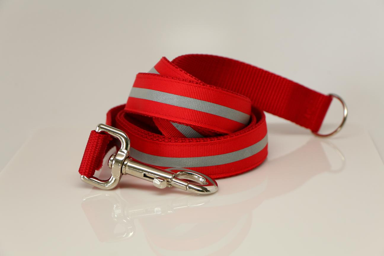 Red Leash - Red  Black Or Gray Reflective Ribbon